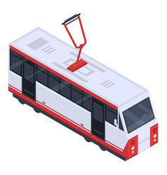 city tram car icon isometric style vector image