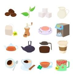 coffee and tea icons set cartoon style vector image