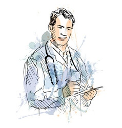 Colored hand sketch Doctors vector image