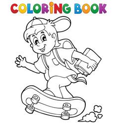 Coloring book school boy theme 1 vector