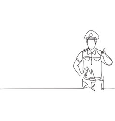 continuous one line drawing policeman vector image