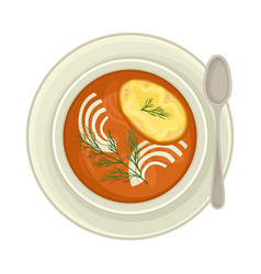 Cream soup with sliced onion and bread top view vector