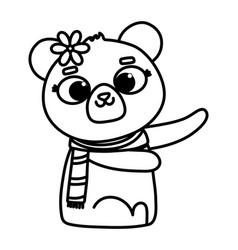 Cute animal bear with scarf and flower cartoon vector