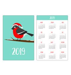 cute bulfinch bird in santa red hat tree branch vector image