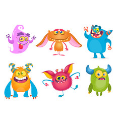 Cute cartoon monsters set vector
