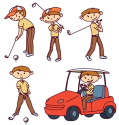cute doodle golf players set vector image