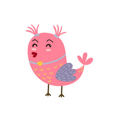 cute girly bird with ponytails pink bird vector image