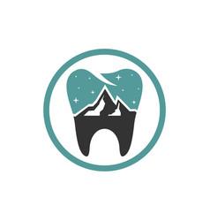 dental health modern logo on mountain vector image