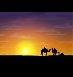 Desert with camels vector