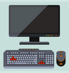 desktop computer telecommunication equipment metal vector image