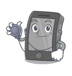 Doctor ipad in a mascot bag vector
