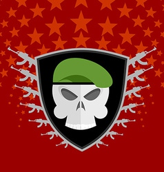 Emblem military skull beret with weapons vector