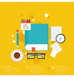 Flat background with papersTemwork concept vector image