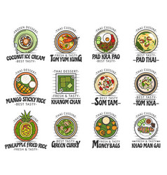Food and desserts thai cuisine asian dishes vector