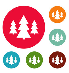 forest icons circle set vector image