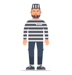 Full-length isolated prisoner in striped clothing vector