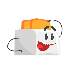 funny toaster character with smiling face vector image