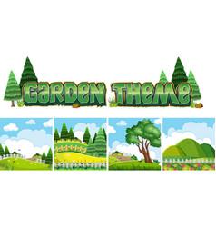 garden theme naure scene vector image