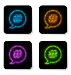 glowing neon hashtag speech bubble icon isolated vector image