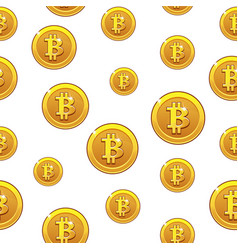 gold bitcoin coins seamless pattern digital vector image