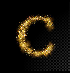 Gold glittering letter c on black background vector