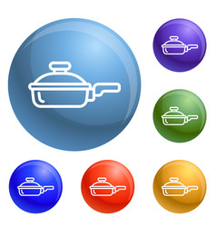 Griddle icons set vector