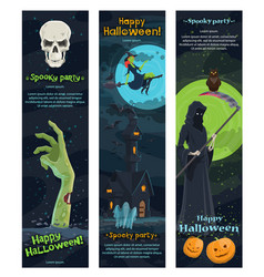 halloween horror night banner spooky party design vector image vector image