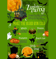 Halloween horror party banner with ghost house vector