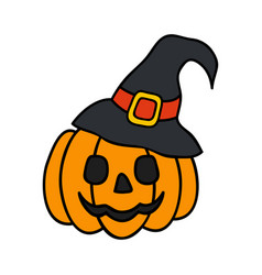 halloween pumpkin with witch hat halloween concept vector image