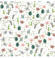 hand-drawn tropical seamless pattern doodle vector image