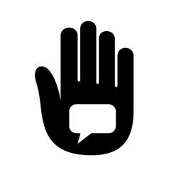 hand open palm speaking bubble talk logo vector image