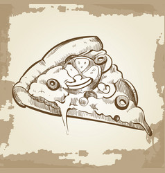 hand sketched pizza on vintage grunge background - vector image