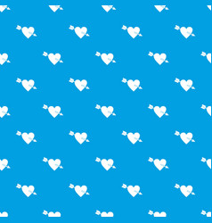heart with arrow pattern seamless blue vector image