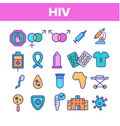Hiv and aids awareness linear icons set vector