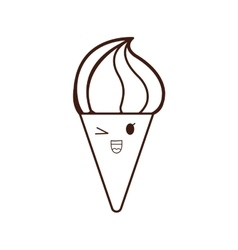ice cream silhouette kawaii icon vector image