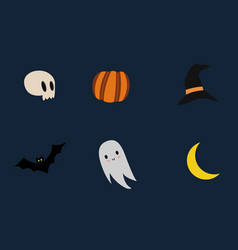 Icon collection for spooky halloween events vector