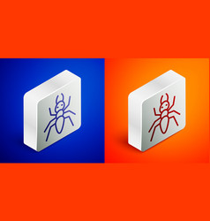 Isometric line ant icon isolated on blue vector
