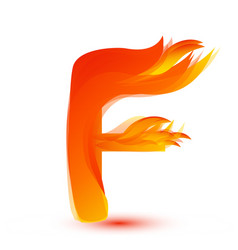 Letter f in fire flame icon vector