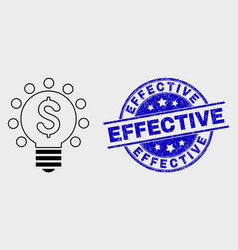 linear dollar light bulb icon and scratched vector image