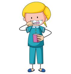 Little girl brushing teeth doodle cartoon vector