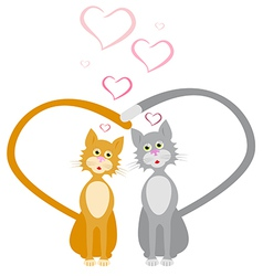 loves red and gray cats hearts vector image