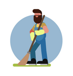 Man cleans in the garden vector