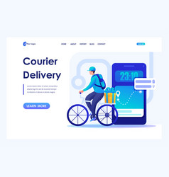 Man on a bicycle delivers orders courier delivery vector