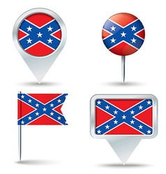 Map pins with Confederate flag vector