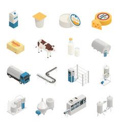 Milk production icon set vector