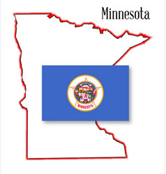 Minnesota state map and flag vector