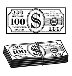 money front view and bundle vector image