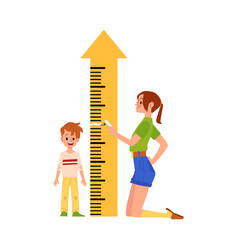 Mother measures son height ruler meter flat vector