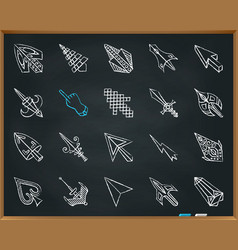 Mouse cursor chalk draw line icons set vector