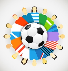 National teams football players around the soccer vector